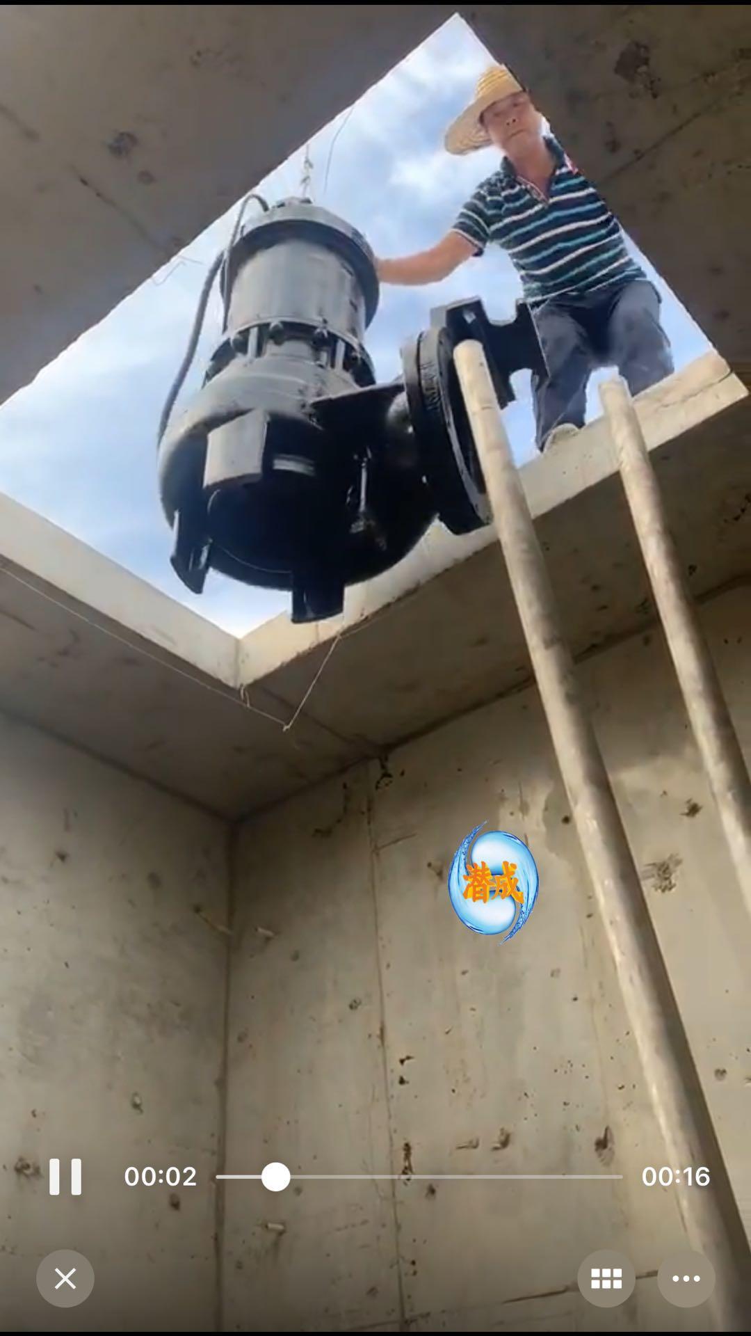 WQ潜水排污泵天津津南区现场安装第2张-潜水电机-潜水电泵-高压潜水电机-天津潜成泵业