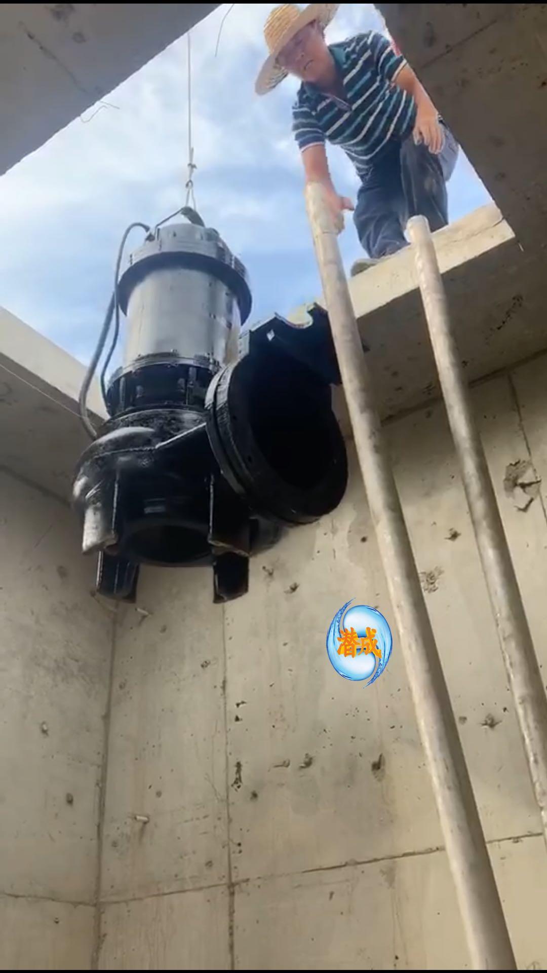 WQ潜水排污泵天津津南区现场安装第5张-潜水电机-潜水电泵-高压潜水电机-天津潜成泵业