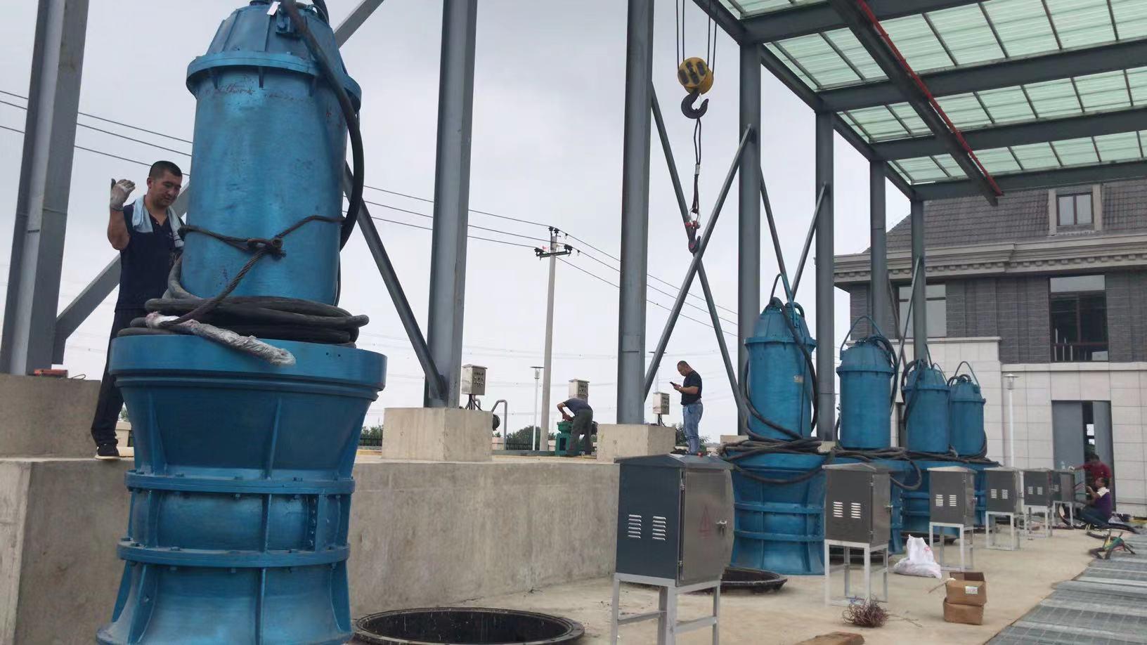天津幸福河泵站280千瓦潜水轴流泵安装现场第1张-潜水电机-潜水电泵-高压潜水电机-天津潜成泵业